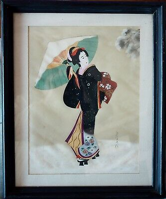 Vintage Japanese Woodblock Print Signed Printed on Silk