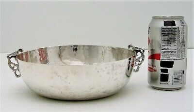 Hand Hammered Spanish Colonial Silver Serving Bowl with Two Bird Handles