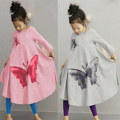 c045ac536b57 Kid Girls Long Sleeve Butterfly Print Party Holiday Swing Long Maxi Dress  Casual