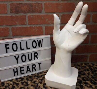 "Sign Language Peace Jewelry ART Display Statue Open Hand Sculpture White 16"" NEW"