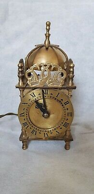 Vintage Smiths Brass Electric Lantern Clock Mantle Antique