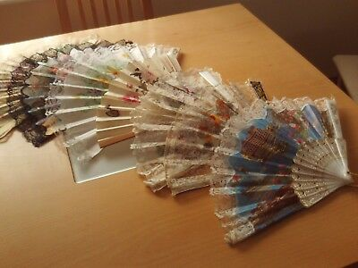 Vintage Collection X7 Filigree Celluloid Lace Wood Paper Hand Painted Hand Fans
