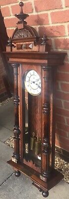 antique victorian Walnut Regulator Twin Weight Vienna Hanging Wall Clock