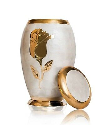 Funeral Adult Cremation Urn Human Ashes Memorial White Pearl Gold Rose Flower