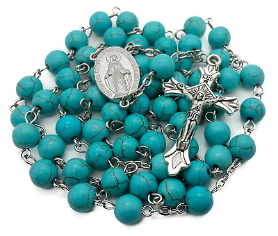 Turquoise Marble Beads Silver Rosary Catholic Necklace Miraculous Medal Cross