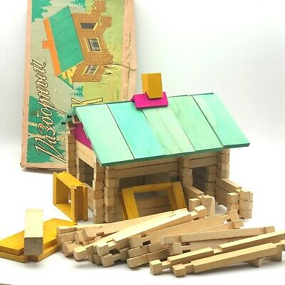 Vintage Wooden House Toy Game Build UP IN BOX Set Hobby Gift Collectible USSR