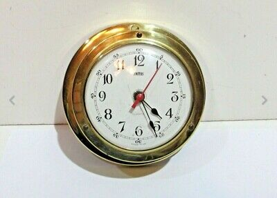 "Vintage c1980s 90s brass ships wall clock SMITHS Made in England ""Quartz"""