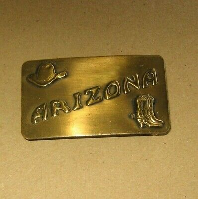 Vintage ARIZONA Solid Brass Belt Buckle~Cowboy Hat & Boots Design~Stock l