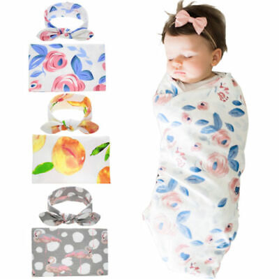 FJ- 2Pcs/Set young Swaddle Wrap Muslin cleaning scraper Nursery Cover with Headb
