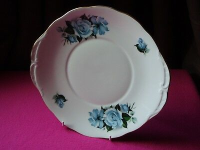 Queen Anne Fine Bone China Blue Roses Cake / Sandwich Plate - VGC