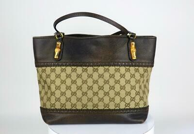 3e36d4b8b9fee5 Gucci Brown GG Monogram Canvas Vintage Pebbled Leather Bamboo Trim Tote Bag