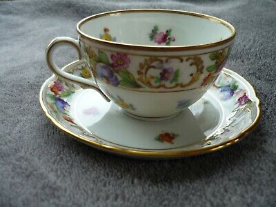 Vintage Schumann Bavaria Germany US Zone  Empress Dresden Flowers Cup and Saucer