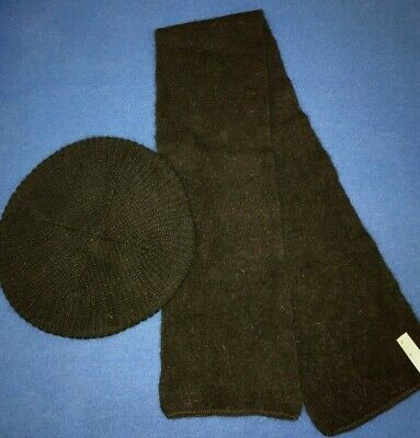 50ec2d60d77b5 ARIS womens solid black WOOL BLEND HAT SCARF one size fits most SUPER SOFT