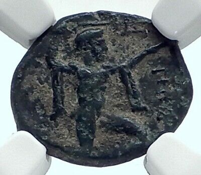 POSEIDONIA LUCANIA Authentic Ancient 350BC Greek Coin POSEIDON BULL NGC i77611