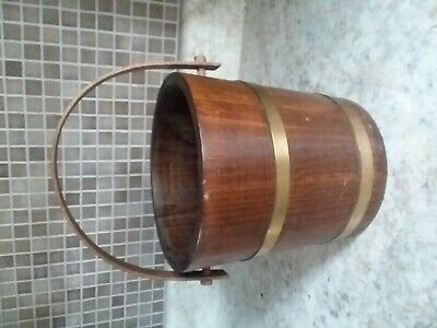 Vintage  Wooden Bucket Made from Slat Brass Bands Wood Handle
