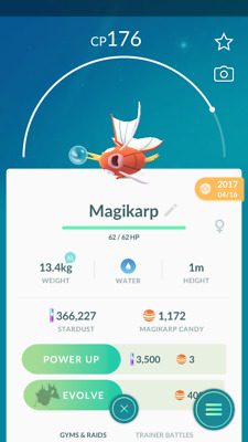 Pokemon Go account Level 30 - 500K stardust  - magikarp Candies
