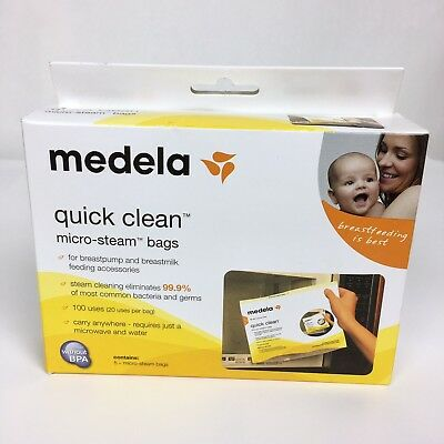 Medela Quick Clean Micro Steam Bags 5 count #87024 BPA Free NEW NIB 100 uses