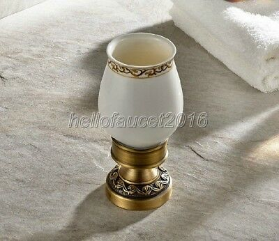Antique Brass Deck Mounted Bathroom Toothbrush Holder with Single Cups lj005-13