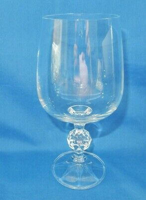 "Claudia Bohemia Crystal Water Wine Goblet Glass Golf Ball Stem 6 5/8"" tall"