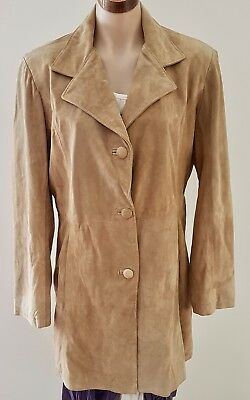 Vintage 90s EXL Australian Made Caramel BEIGE Knee Length LEATHER COAT Size 12