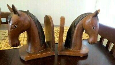 Large Set Vintage Rustic Wood Hand Carved His & Hers Horse Head Book Ends Pair