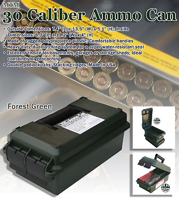 Military Style 30 Caliber Rugged Plastic Ammo Can Water-Resistant Storage Box Ca