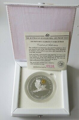 Perth Mint 1995 Kookaburra 2oz .999 Silver Proof Coin 50 Years Beyond WWII Privy