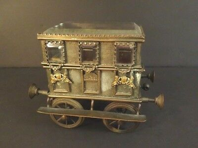 ANTIQUE Jewerly Box Train Passenger Coach France 1850 Bronze & Beveled Crystal