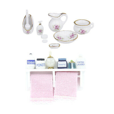 1/12 Doll House Miniature Ceramic Container & Towel Rack Makeup Cosmetic Set
