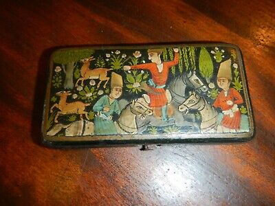ANTIQUE PERSIAN ISLAMIC 19th CENTURY LACQUER WARE HAND PAINTED WOOD BOX!