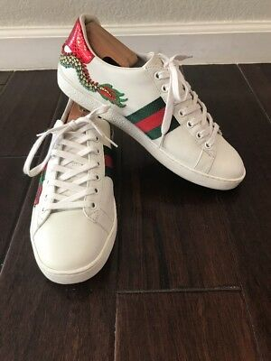 d5c3ffe77 GUCCI NEW ACE Dragon-Embroidered Sneaker, SIZE 39 1/2 G (9 1/2 US ...