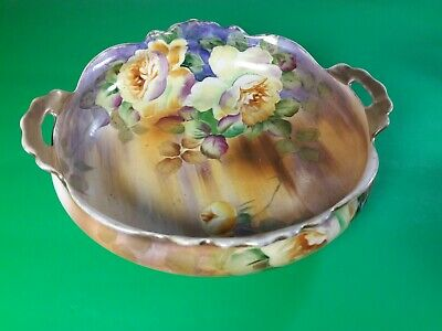 """Antique Nippon 9"""" Bowl Hand Painted Roses Wreath M Mark 1890-1920."""