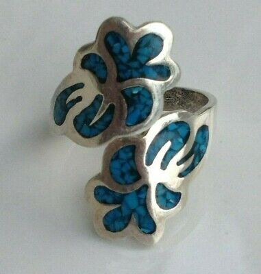 Jewelry & Watches 4.8g .925 Sterling Silver Mexico Crushed Turquoise Inlay Long Wrap Ring Sz 8