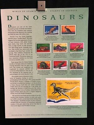 World Of Stamps Dinosaurs Series Collection 9 Stamps Georgia T Rex