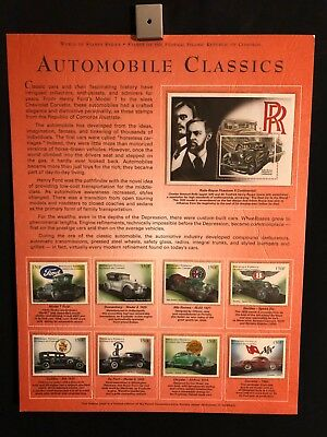 World Of Stamps Automobile Classics Series Collection 9 Stamps Cars Rolls Royce