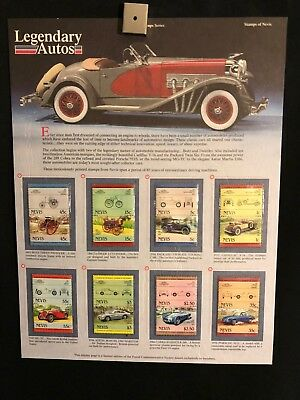 World Of Stamps Legendary Autos Series Collection 8 Stamps Nevis Cars Cobra