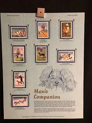 World Of Stamps Man's Companion Series Collection 8 Stamps Dogs Dog Shepherd
