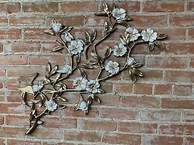 "Vintage Mid Century Syroco Flowers Butterfly Cream Gold Wall Hanging 21"" X 35"""