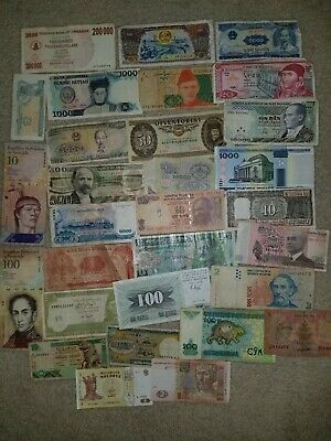 FOREIGN CURRENCY LOT OF 30 PAPER NOTES GREAT MIX WORLD OF CURRENCY. Quality!!