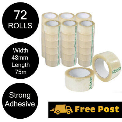 72 Rolls Clear Packaging Sticky Packing Tape 75 metre x 48mm Thickness 45 Micron