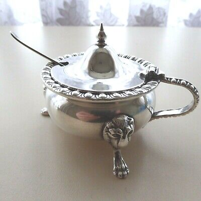 Vintage Heavy Silver Plate Mustard Pot + Spoon Resting On 3 Lion Mask Paw Feet