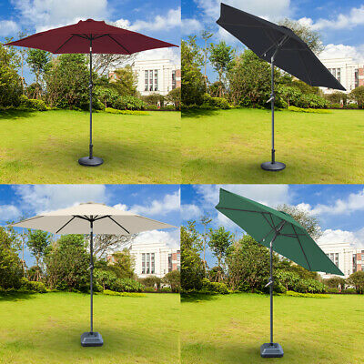 2.5m Round Garden Parasol Patio Umbrella Crank Tilt with Parasol Base Weight