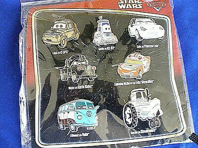 Disney * CARS as STAR WARS CHARACTERS * New in Package Retired 7 Pin Booster Set