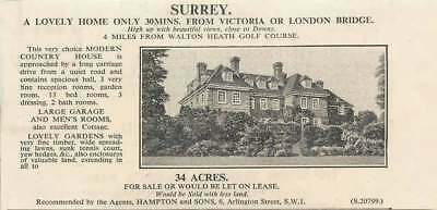 1936 Modern Country House 13 Bedrooms Near Walton Heath Golf Course For Sale