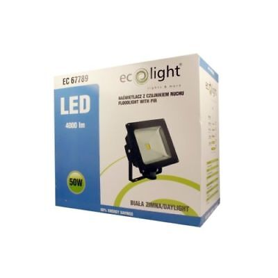 Ecolight 50W LED Floodlight (Black) With PIR Motion Detector & .5m Cable Refurb
