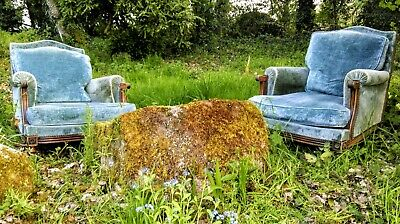 A Wonderful Antique French Two Seat Sofa in Original Ice Blue Velvet