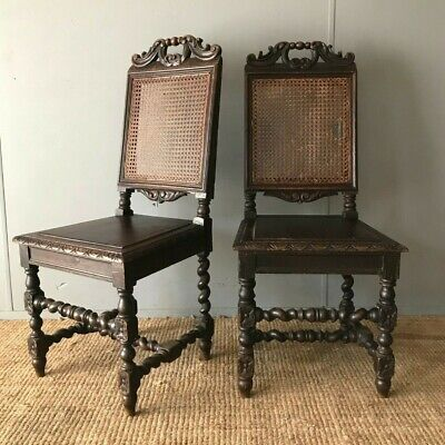 Pair Of Carved Oak Antique Dining Hall Chairs Victorian Gothic Revival Style x 2