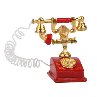 1/12 Dollhouse Miniature Retro Phone Vintage Telephone Red