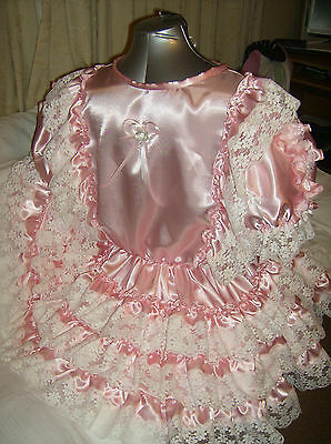 Sissy~Maids~Adult Baby~Unisex~Cd/Tv Pink Satin And White Lace Dress