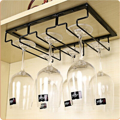 3/4/5/6/7 Row Iron Wall Mount Wine Glass Stemware Hanging Holder Goblet Bar Home